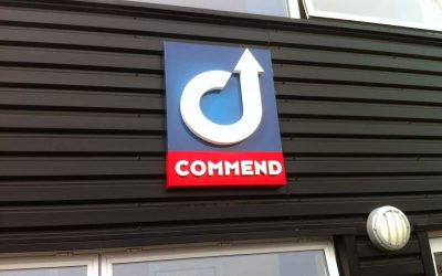 Commend Logo on square fascia sign