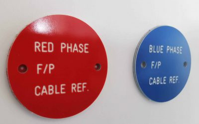 Engraved Red & Blue Valve Tags
