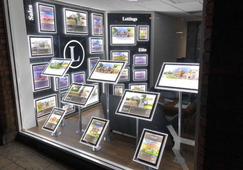 A Bespoke LED Window Display for an estate agent.