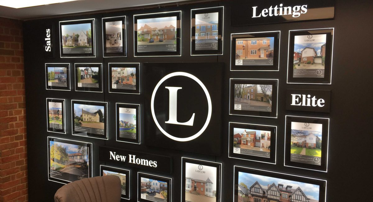 Bespoke LED Lettings Wall Displays.