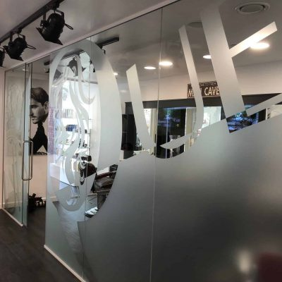 a frosted window graphic for a salon