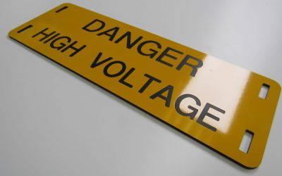 Danger High Voltage Engraved warning sign.