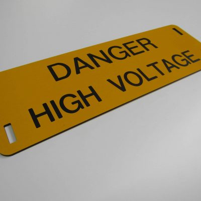Danger High Voltage Engraved Sign