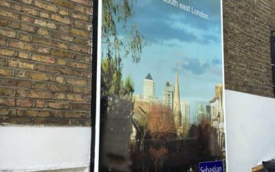 This large wall poster was digitally printed to advertise new properties.