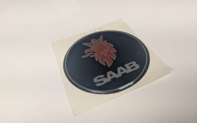 SAAB logo Resin Domed label.