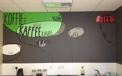 A multilingual wall vinyl in a kitchen descibing all the ways to say tea/coffee