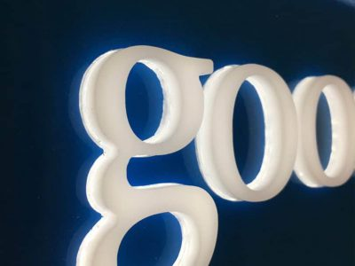 The goodfellows sign close up and lit up.